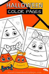 Candy Corn Halloween Color Pages (PDF)