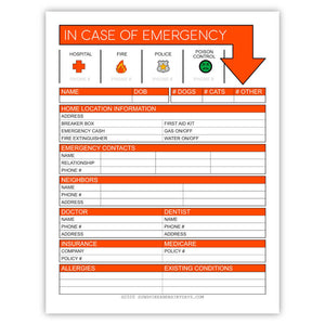 In Case Of Emergency Information Sheet (PDF)