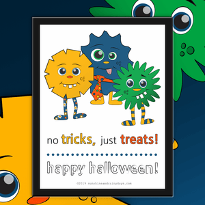 No Tricks, Just Treats - Trick Or Treat Sign (PDF)