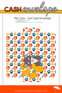 Cat Pet Care Cash Envelope (PDF)
