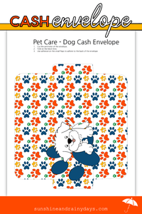 Dog Pet Care Cash Envelope (PDF)