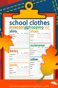 School Clothes Inventory And Shopping List (PDF)