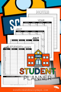 Undated Student Planner - Black & White (PDF)