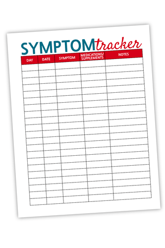 Symptom Tracker For Bloggers Teal & Red (PDF)