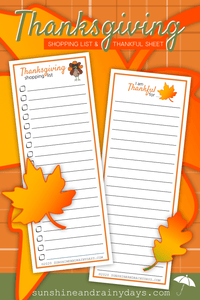 Thanksgiving Shopping List And Thankful Sheet (PDF)