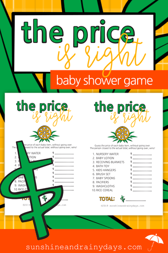 Price Is Right - Baby Shower Game (PDF)
