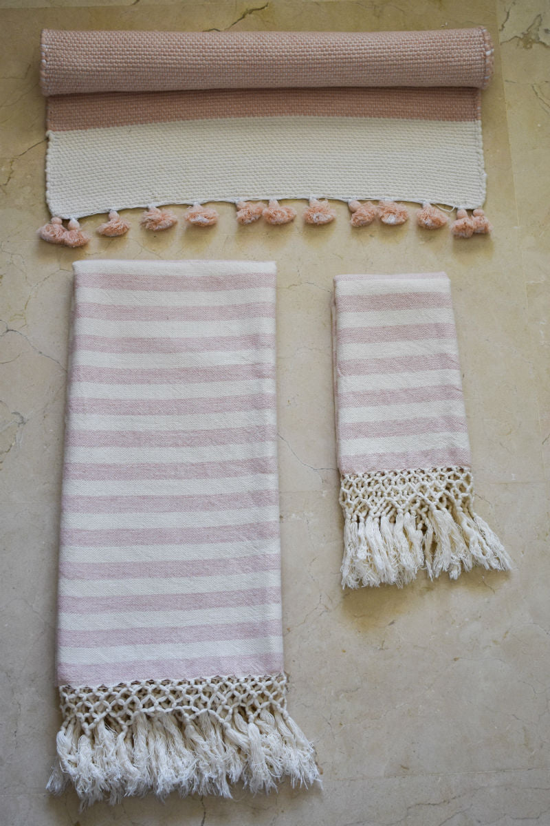 Powder Pink Handwoven Bath Set