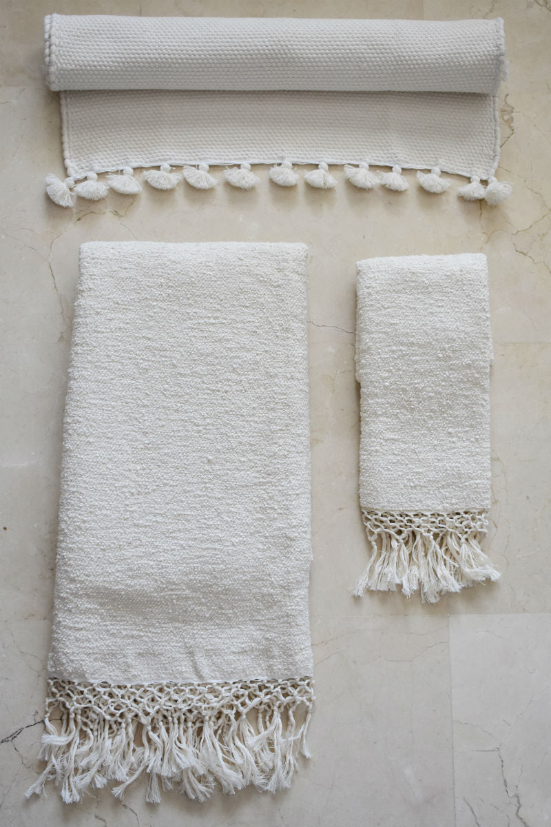 Cream handwoven Cotton Bath Set