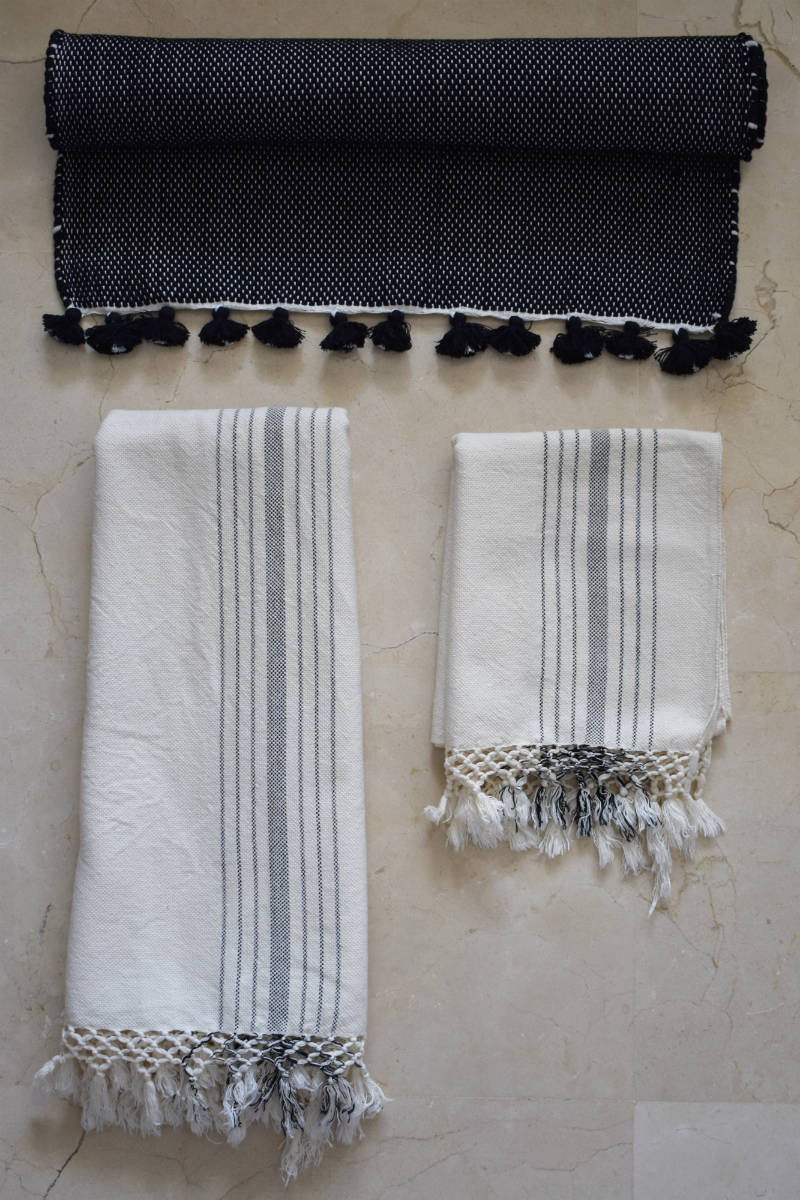 Black & Cream Handwoven Cotton Bath Set