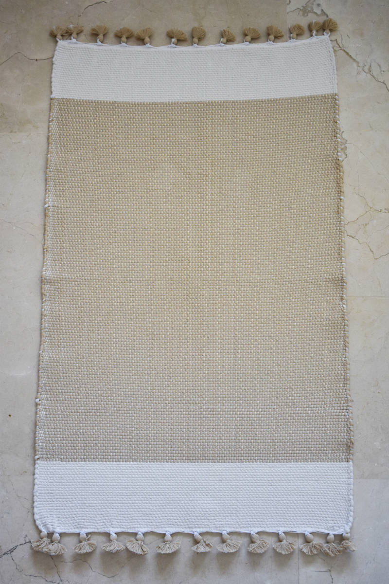 Tafsut Handwoven Bath Mat in Beige