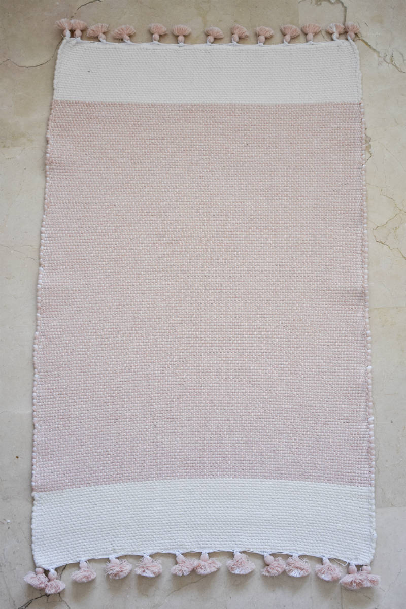 Tafsut Handwoven Bath Mat in Powder Pink