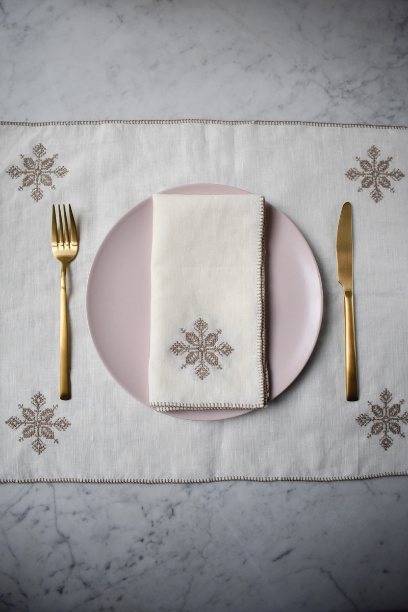 Azrou Washed Linen Embroidered Placemat