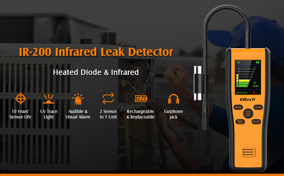 Elitech IR-200 Infrared & Heated Diode Refrigerant Leak Detector for Air Conditioner and Automotive Repair