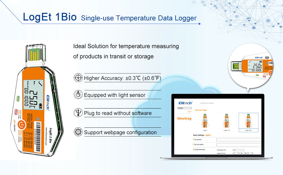 Elitech LogEt 1Bio Temperature Data Logger Single Use PDF Report USB Port 16000 Points