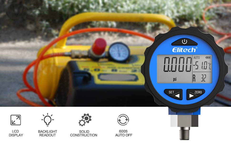 Elitech PG-30Pro Blue Refrigeration HVAC Digital Pressure Gauge for 87+ Refrigerants with Backlight 0-500 PSI 1/8 NPT
