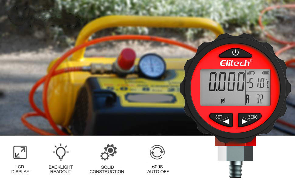 Elitech PG-30Pro Red Refrigeration HVAC Digital Pressure Gauge for 87+ Refrigerants with Backlight 0-800 PSI 1/8 NPT