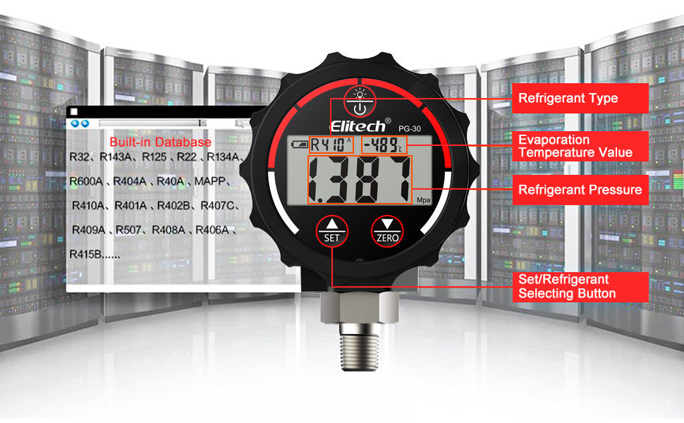 Elitech PG-30 Red Digital Vacuum High Pressure Gauge for HVAC Refrigerant with Backlight -14.5~800 PSI 1/8 NPT