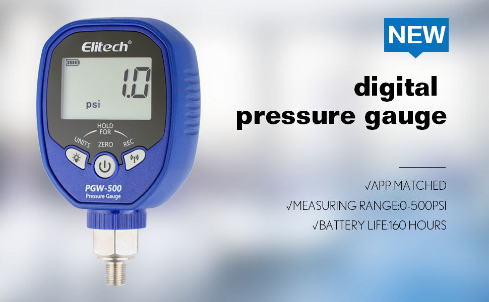 Elitech PGW-500 Wireless Digital Pressure Gauge with Temperature App Alerts for HVAC System IP65 Waterproof 0-500 PSI 1/8 NPT