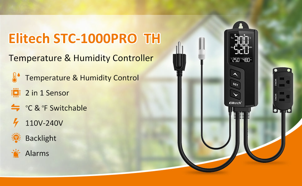 Elitech STC-1000Pro-TH Digital Temperature and Humidity Controller Thermostat 2 Pre-Wired Heating and Cooling Outlets Terrarium Homebrew Fermentation Breeding 110-240V 10A 1200W