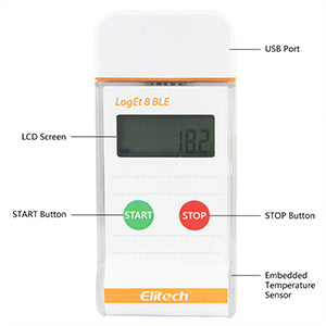 Elitech LogEt 8 BLE Bluetooth Multi Use PDF Data Logger with USB Port for Life Science 16000 Recording Points (Max)