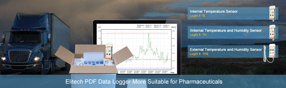 Elitech LogEt 8 The Temperature and Humidity Data Logger Reusable PDF Report USB Port External Sensor 16000 Points