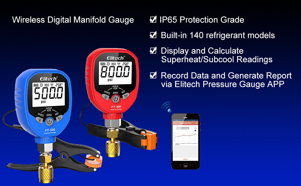 Elitech PT-500&PT-800 Wireless Refrigeration Digital Manifold Gauge Set HVAC A/C Pressure Temperature Gauge with Demountable Temperature Test Clip 1/8 NPT