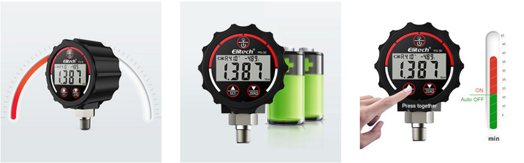Elitech PG-30 Digital Vacuum Pressure Gauge with Backlight