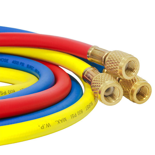 Elitech Refrigerant Charging Hose Set for R134a R404a R12 R22 Air Conditioning Refrigerant 1/4''Fitting, 59'', Red/Yellow/Blue (Pack of 3)
