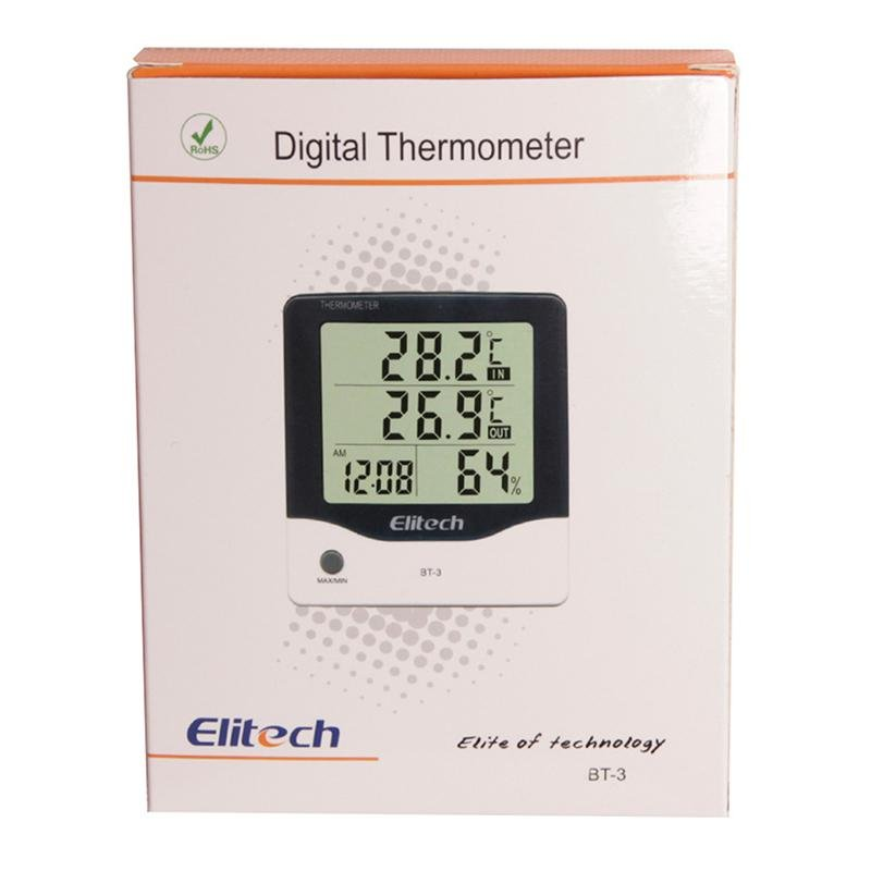 Elitech BT-3 LCD Indoor/Outdoor Digital Hygrometer Thermometer Humidity Monitor with Clock and Min/Max Value - Elitechustore