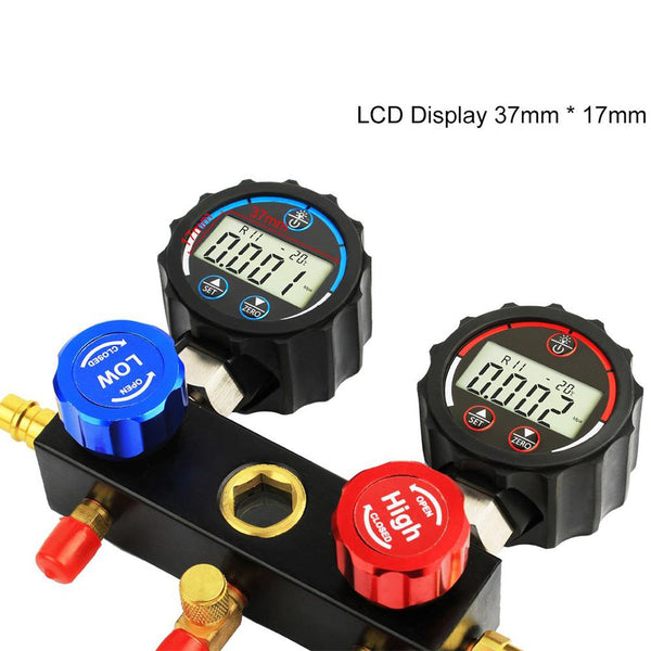 Elitech DMG-1 AC Manifold Gauge Set 3 Way Fits R134A R410A and R22 Refrigerants with Hoses Coupler Adapters+ Carrying Case - Elitechustore