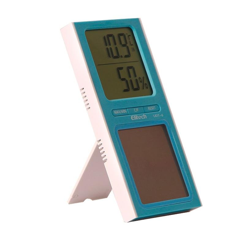 Elitech DT-6 Digital Thermometer Temperature and Humidity Monitor Solar Power for Home Office - Elitechustore