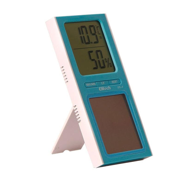 Elitech DT-7 Digital Thermometer 2 Temperature Sensors Humidity Monitor Solar Power for Home Office - Elitechustore