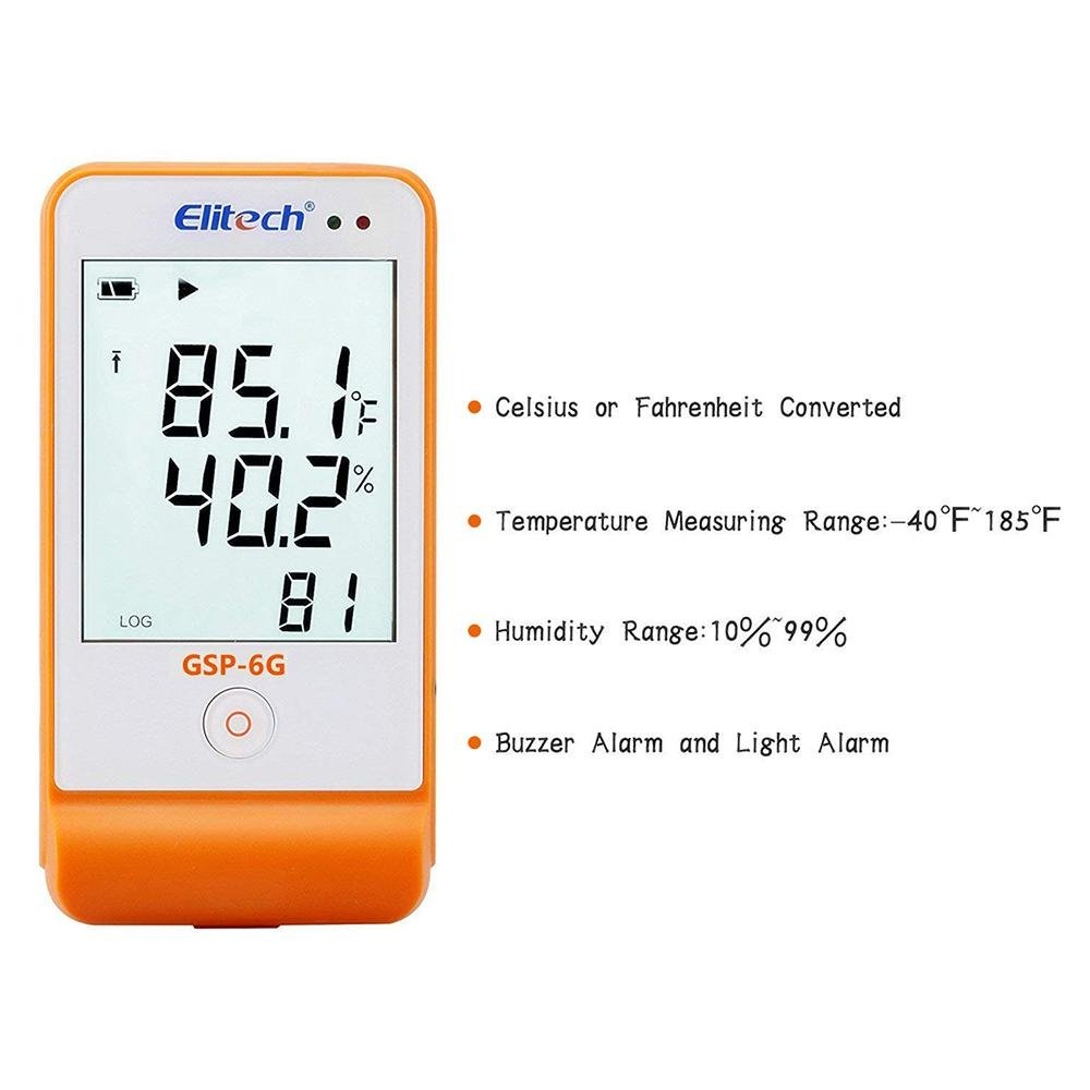 Elitech GSP-6G Temperature and Humidity Data Logger with Glycol Bottle - Elitech Technology, Inc.