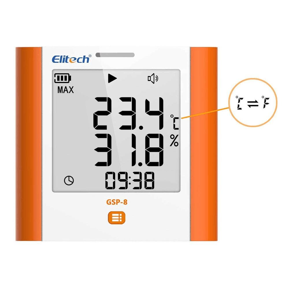 Elitech GSP-8 Temperature and Humidity Digital Data Logger Wall Mounted Large Screen Max/Min Value Display 2-Year Certificate Audio Alarm - Elitech Technology, Inc.