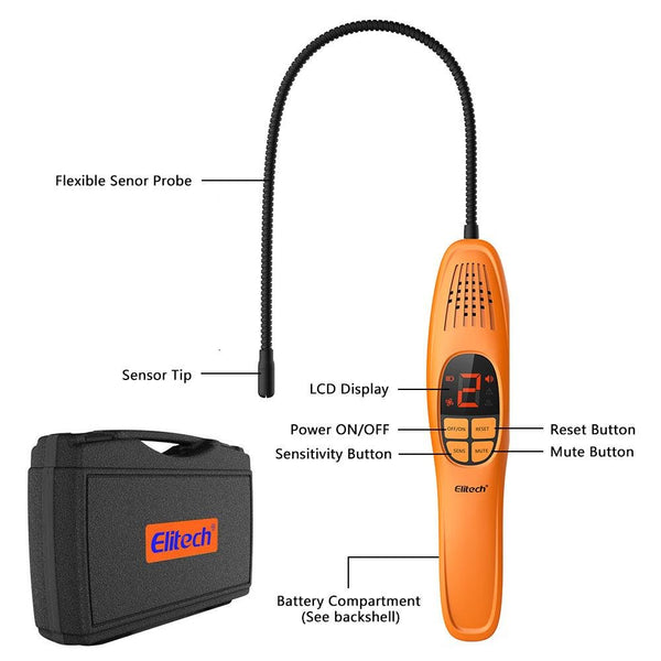 Elitech LD-100 Refrigerant Leak Detector CFCs HCFCs HFCs Freon Gas Leak Sniffer Heated Diode Sensor With Long Probe - Elitechustore