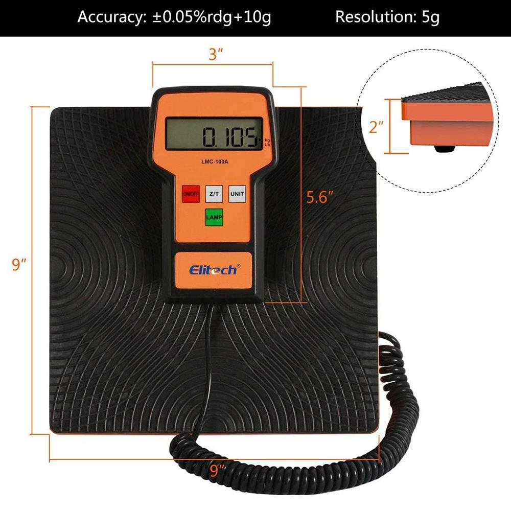 Elitech LMC-100A Refrigerant Charging Scale for HVAC 220 Lbs with Case - Elitech Technology, Inc.