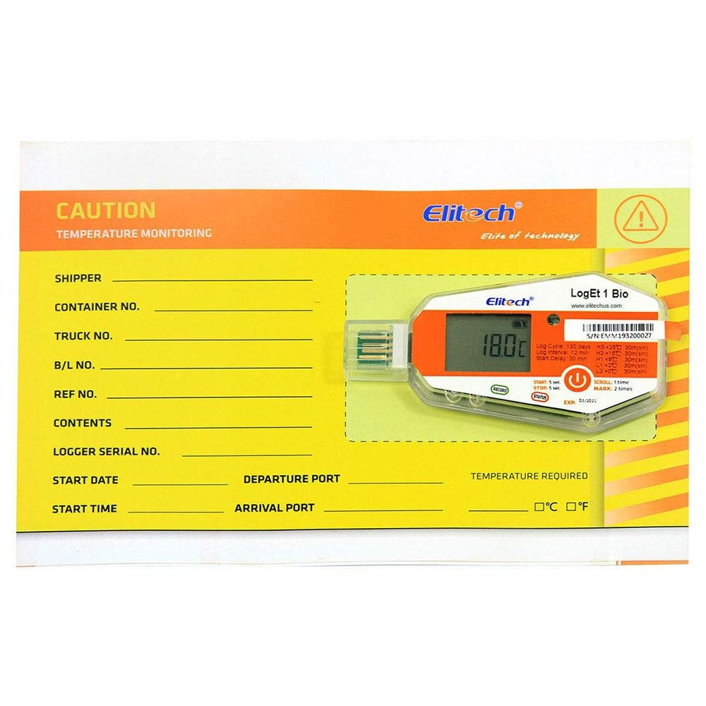 Elitech LogEt 1Bio Temperature Data Logger Single Use PDF Report USB Port 16000 Points - Elitechustore