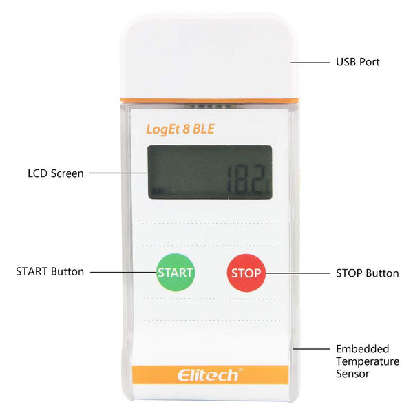 Elitech LogEt 8 BLE Bluetooth Recorder Multi Use PDF Data Logger with USB Port for Life Science 16000 Recording Points (Max) - Elitechustore