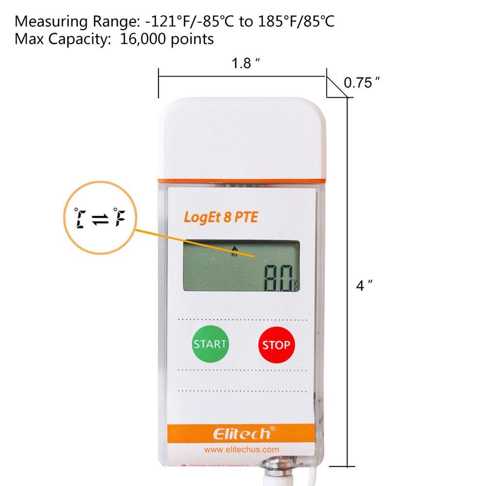 Elitech LogEt 8 PTE Temperature Data Logger Reusable Ultra Low Temperature Recorder PDF Report USB Port 16000 Points - Elitechustore