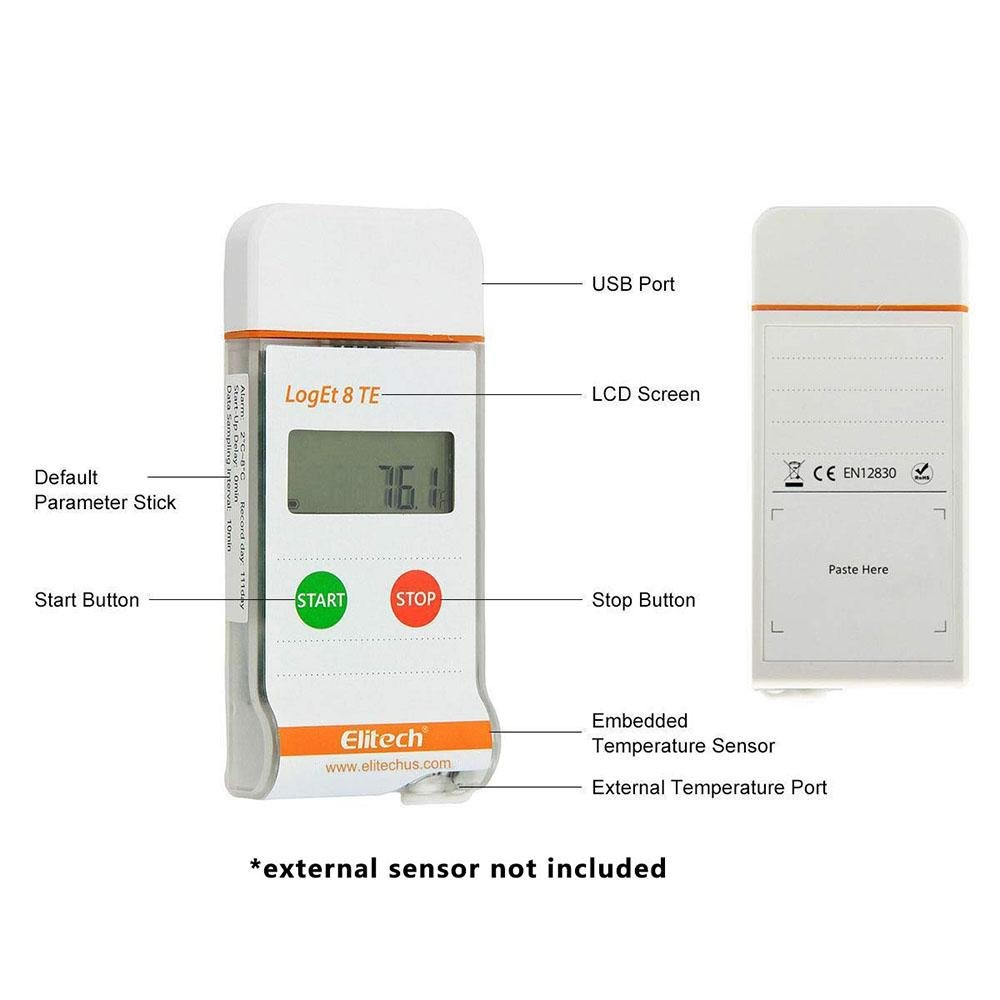 Elitech LogEt 8 TE Temperature Data Logger Reusable PDF Report USB Port High Accuracy 16000 Points - Elitech Technology, Inc.