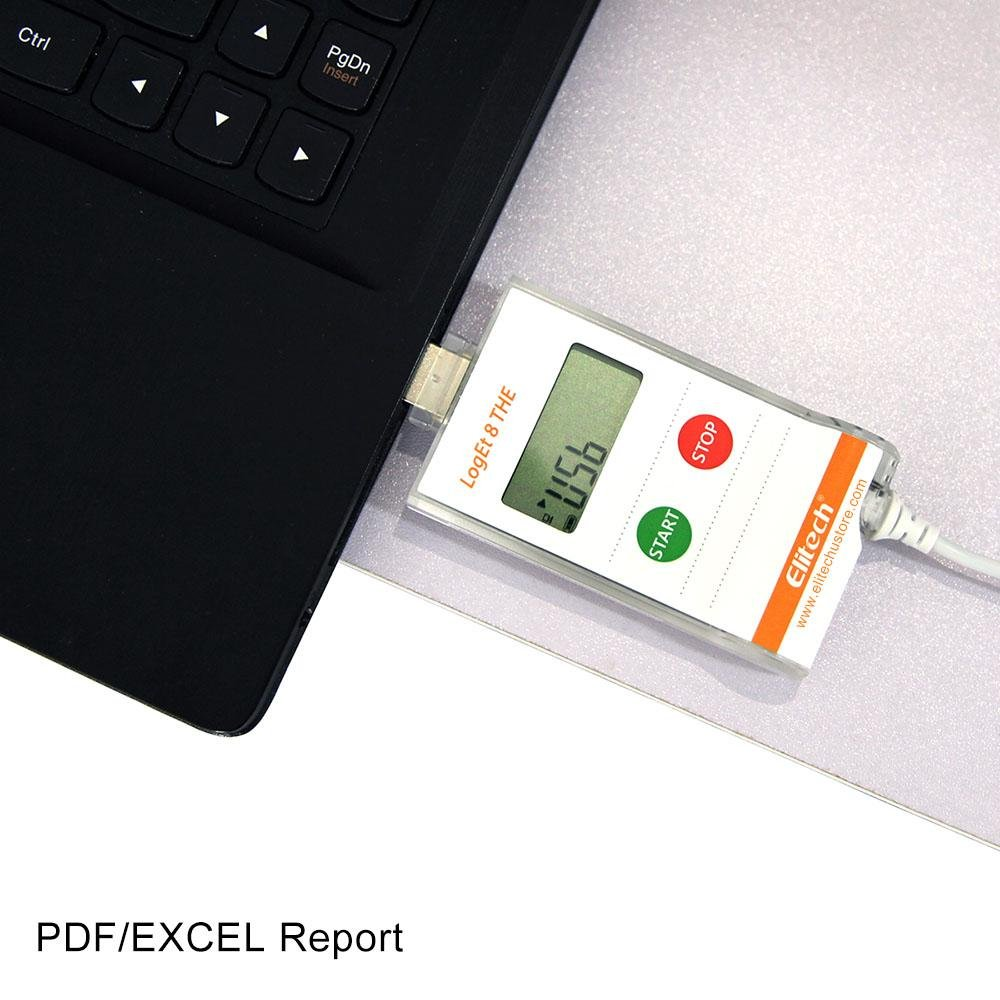Elitech LogEt 8 THE Temperature and Humidity Data Logger Reusable PDF Report USB Port External Sensor 16000 Points - Elitechustore