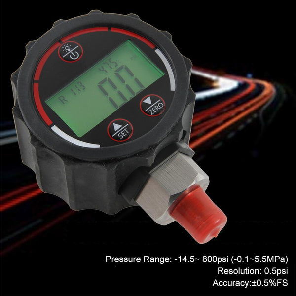 Elitech PG-30 Red Digital Vacuum High Pressure Gauge for HVAC Refrigerant with Backlight -14.5~800 PSI 1/8 NPT - Elitechustore