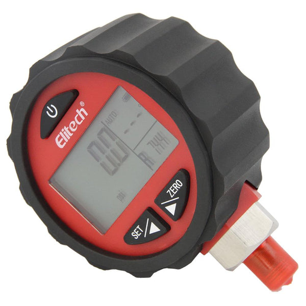 Elitech PG-30Pro Red Refrigeration HVAC Digital Pressure Gauge for 87+ Refrigerants with Backlight 0-800 PSI 1/8 NPT - Elitechustore