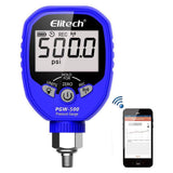 Elitech PGW-500 Wireless Digital Pressure Gauge with Temperature App Alerts for HVAC System IP65 Waterproof 0-500 PSI 1/8 NPT - Elitechustore