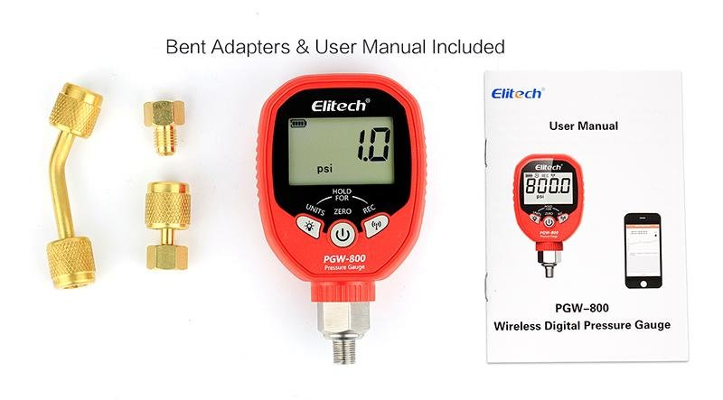 Elitech PGW-800 Wireless Digital Pressure Gauge with Temperature App Alerts for HVAC System IP65 Waterproof 0-800 PSI 1/8 NPT - Elitechustore