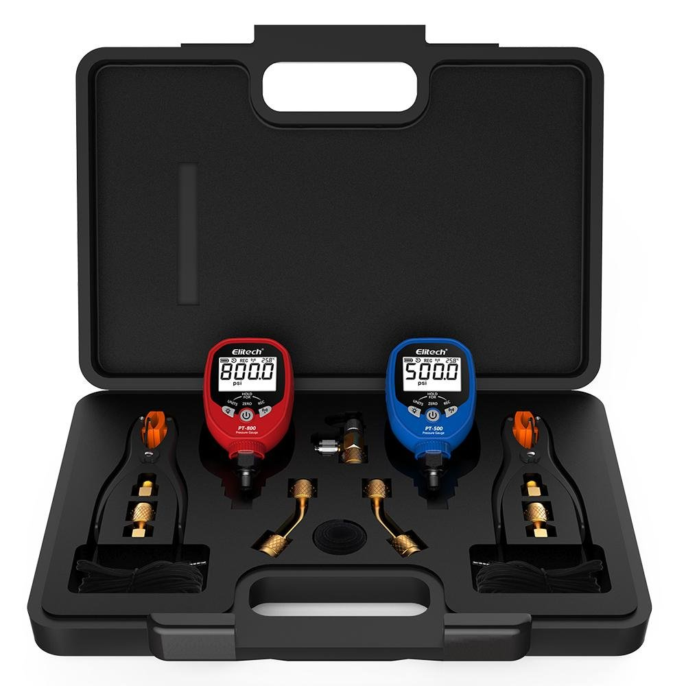 Elitech PT-500&PT-800 Bluetooth HVAC Digital Manifold Gauge Set with Removable Temperature Clip - Elitech Technology, Inc.