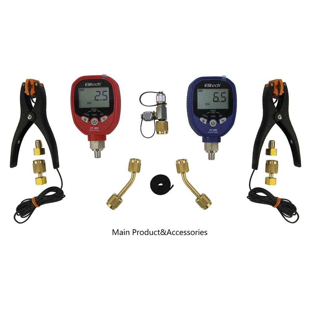 Elitech PT-500&PT-800 Wireless Refrigeration Digital Manifold Gauge Set HVAC A/C Pressure Gauge with Temperature Test Clip and Charging Hoses - Elitech Technology, Inc.