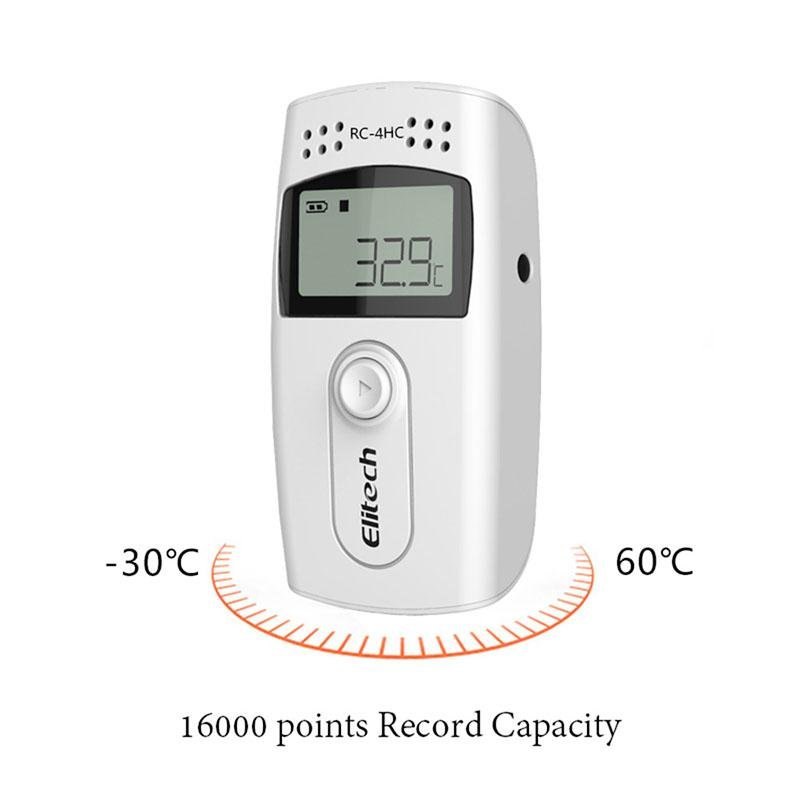 Elitech RC-4HC Digital Temperature and Humidity Data Logger Temp Recorder with External Sensors - Elitechustore