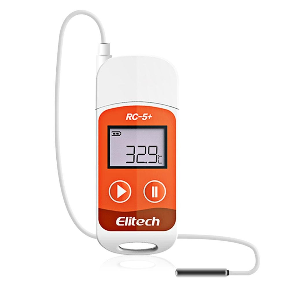 Elitech RC-5+ PDF USB Temperature Data Logger Reusable Recorder 32000 Points High Accuracy (Extra External Sensor) - Elitechustore