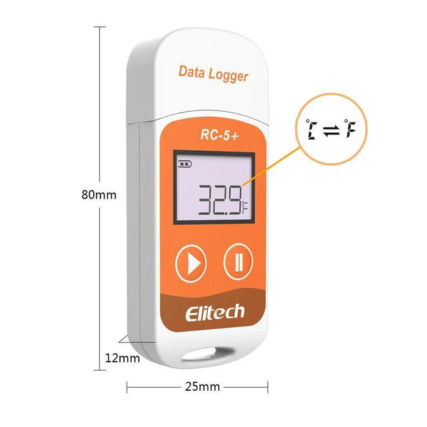 Elitech RC-5+ Temperature Data logger Auto-PDF Temperature Recorder USB Design with 32000 Points Reusable - Elitechustore